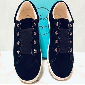 Jack Rogers Rye Black Suede Slip on Sneakers 7.5M
